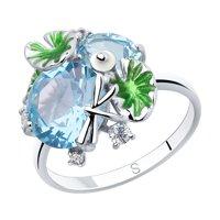 Кольцо из серебра с эмалью и голубыми ситаллами и фианитами