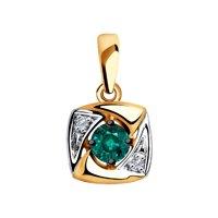 Подвеска из золота с бриллиантами и гидротермальным изумрудом (синт.)