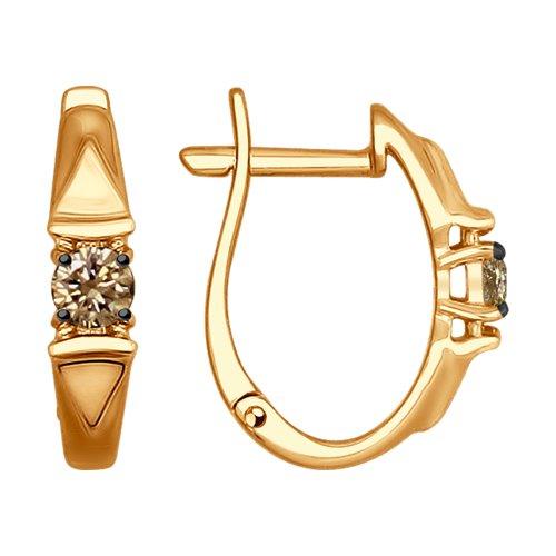 Серьги из золота с коньячными бриллиантами (1021152) - фото