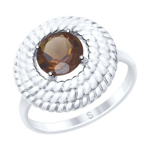 Кольцо из серебра с раухтопазом (92011527) - фото