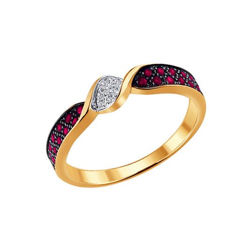 Золотое кольцо с бриллиантом и рубинами SOKOLOV