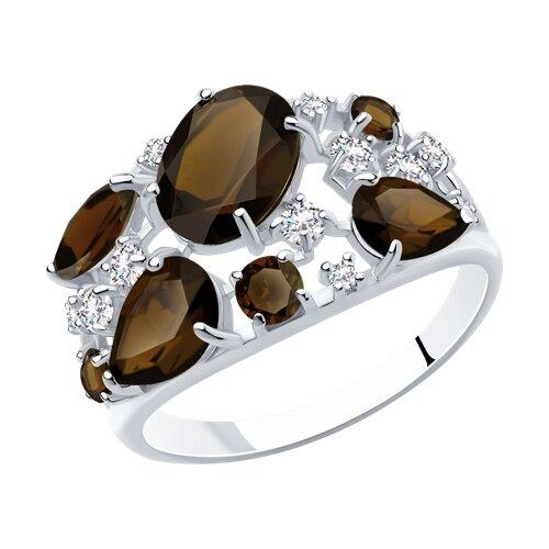 Кольцо SOKOLOV из серебра с раухтопазами и фианитами кольцо из серебра с раухтопазами