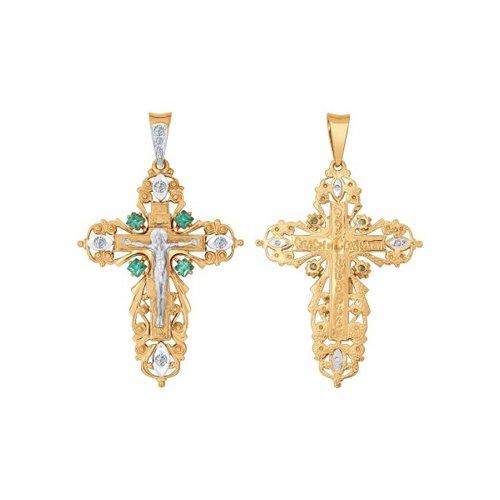 Крест из комбинированного золота с зелеными фианитами