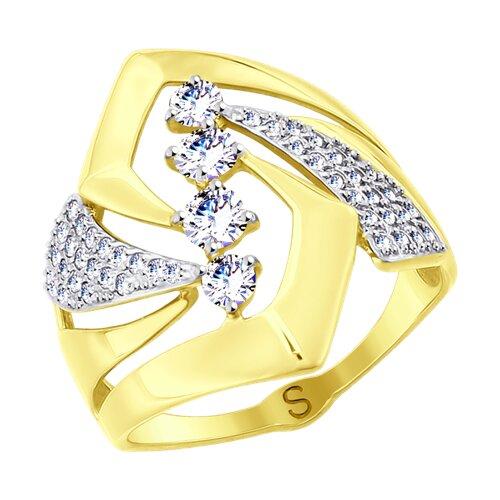 Кольцо из желтого золота с фианитами 017781-2 SOKOLOV фото