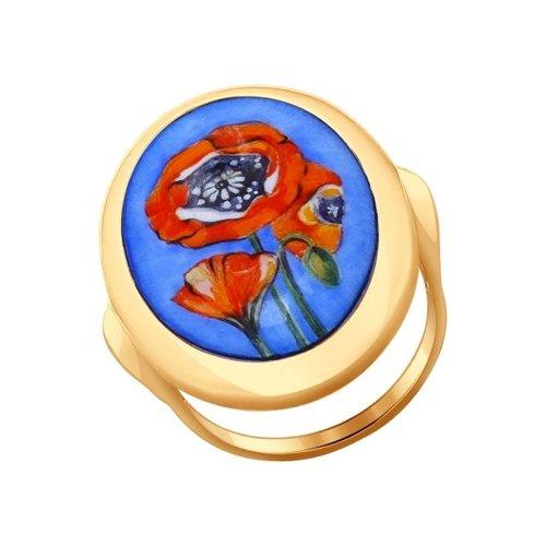 Кольцо из золота с маками