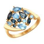 Кольцо из золота с голубыми и синими топазами