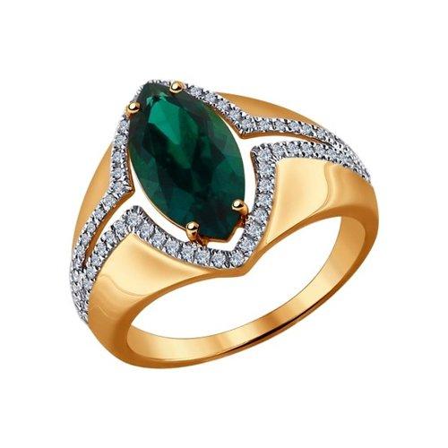Кольцо SOKOLOV из золота с бриллиантами и гидротермальным изумрудом (синт.) кольцо с изумрудом золотое к10616и