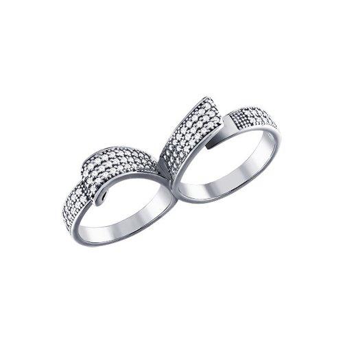 Кольцо на два пальца с россыпью фианитов