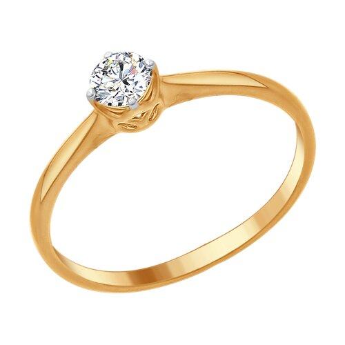 Кольцо из золочёного серебра со Swarovski Zirconia (89010093) - фото