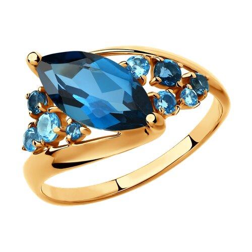 Кольцо из золота с голубыми и синими топазами (715027) - фото