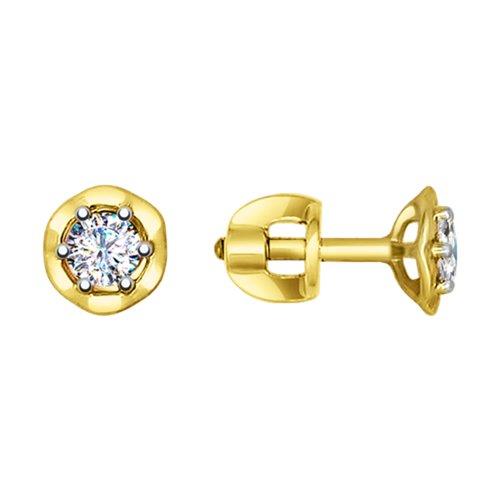 Серьги-пусеты из желтого золота с фианитами (027435-2) - фото