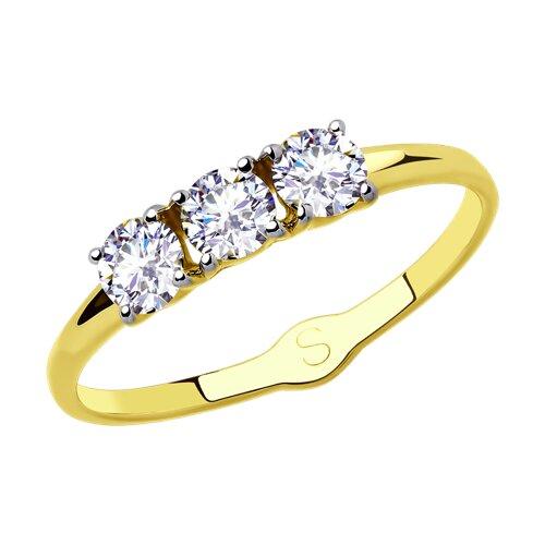 Кольцо из желтого золота с фианитами (017957-2) - фото