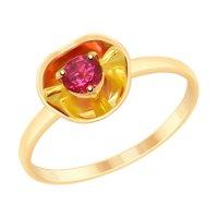 Кольцо из золота с родолитом