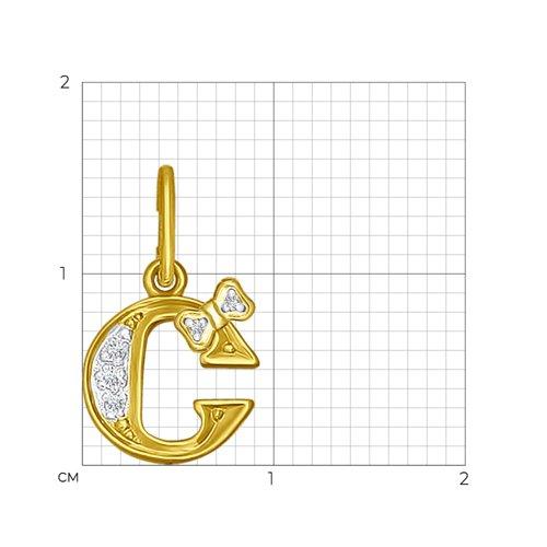 Подвеска из желтого золота с фианитами (030668-2) - фото №2