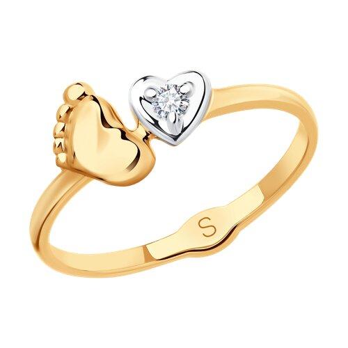 Кольцо из золота с фианитом (018085) - фото