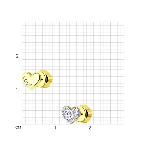 Серьги из желтого золота с бриллиантами 1021470-2 SOKOLOV фото 2