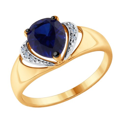Кольцо из золота с бриллиантами и синим корундом (синт.) (6012097) - фото