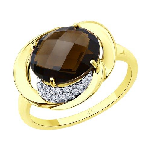 Кольцо из желтого золота с раухтопазом и фианитами (714251-2) - фото