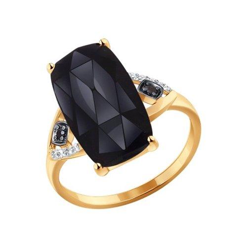 Кольцо из золота с агатом и чёрными фианитами