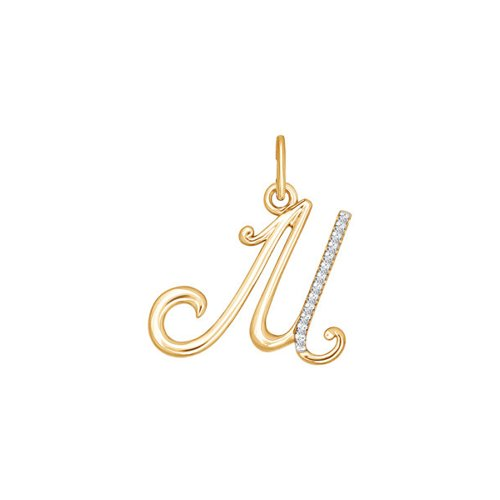 "Подвеска-буква ""М"" из золота с фианитами"