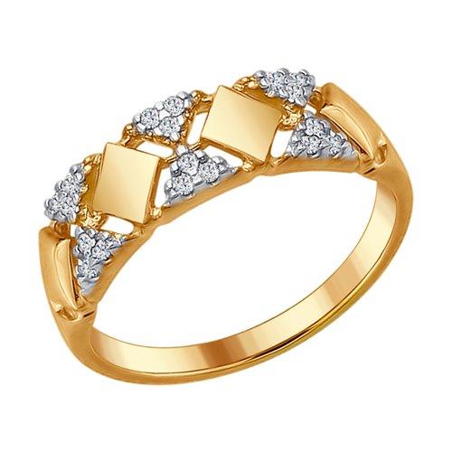 Кольцо из золочёного серебра с фианитами (93010654) - фото