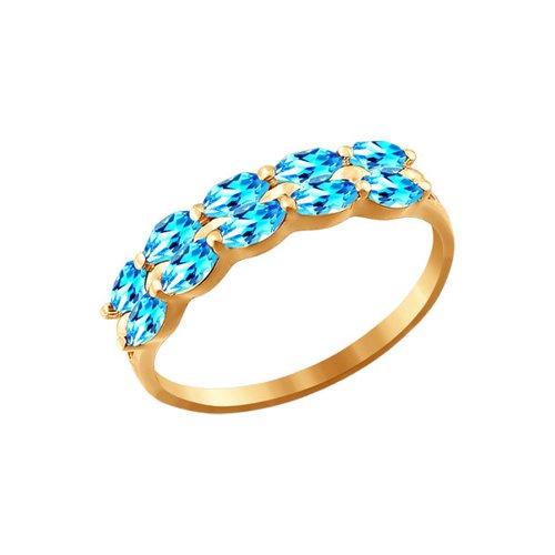 Золотое кольцо с голубыми фианитами SOKOLOV золотое кольцо ювелирное изделие 01k664882