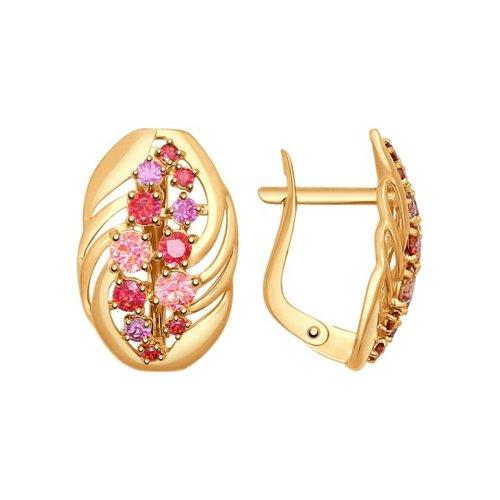 Серьги SOKOLOV из золота с розовыми, сиреневыми и красными фианитами