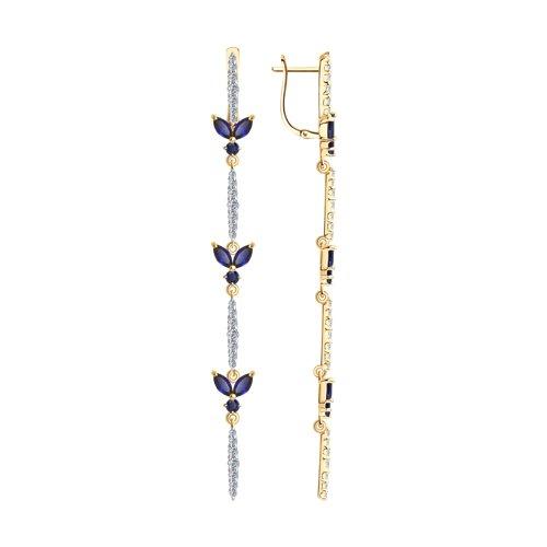 Серьги из золота с синими корунд (синт.) и фианитами (726167) - фото