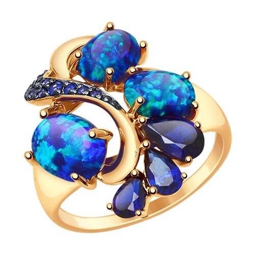 Кольцо из золота с синими корундами (синт.), опалами и фианитами (714783) - фото