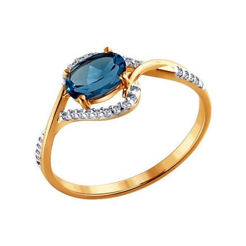 Кольцо из золота с топазом и фианитами (713837) - фото