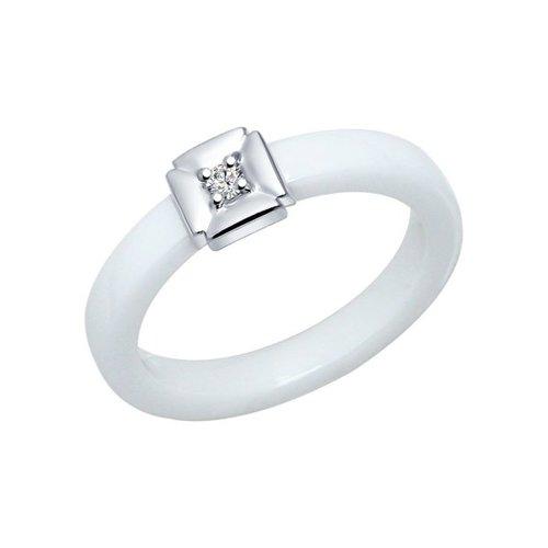 Белое керамическое кольцо с серебром и фианитами