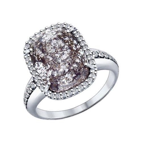 Кольцо из серебра с чёрным кристаллом Swarovski и фианитами (94011943) - фото