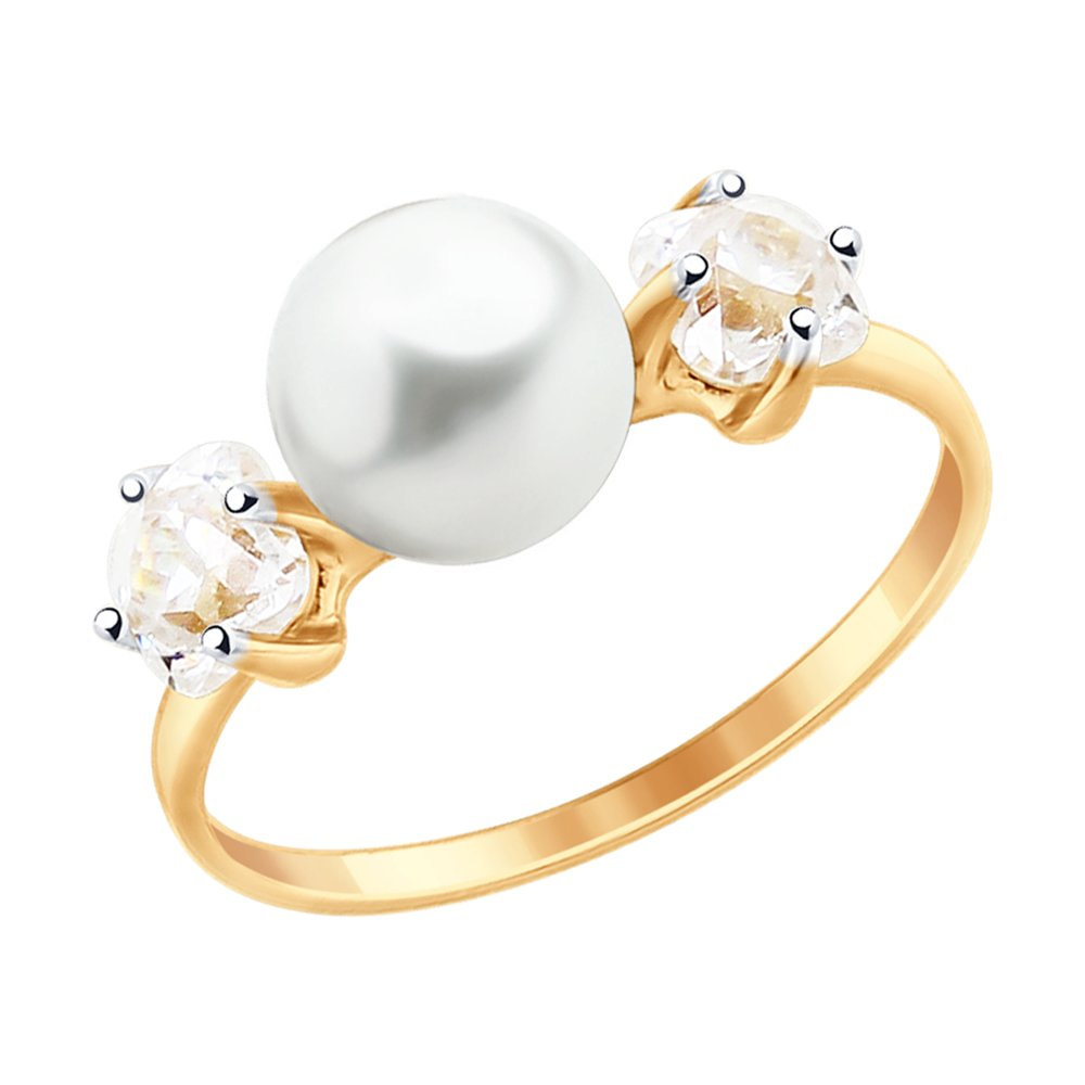 Кольцо SOKOLOV из золота с жемчугом и Swarovski Zirconia