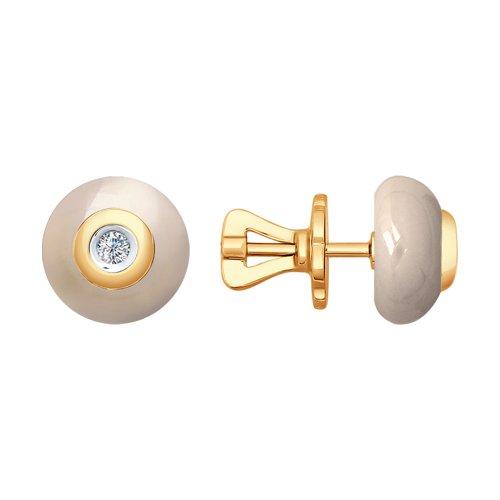 Серьги из золота с бриллиантами и керамикой (6025039) - фото