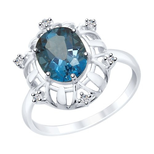 Кольцо из серебра с синим топазом и фианитами (92011781) - фото