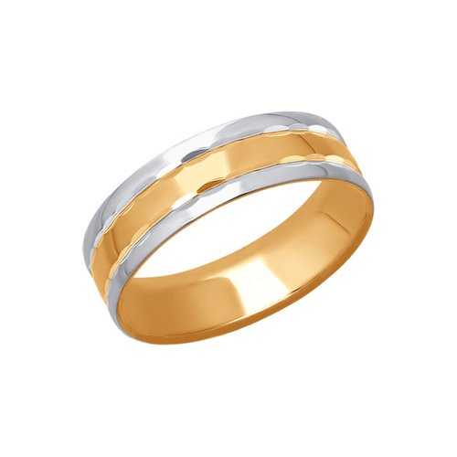 Обручальное кольцо из комбинированного золота с алмазной гранью (110165) - фото