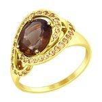 Кольцо из желтого золота с раухтопазом и жёлтыми фианитами