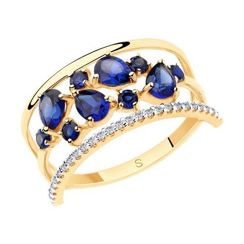 Кольцо из золота с синими корунд (синт.) и фианитами (715538) - фото