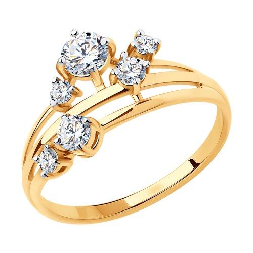 Кольцо из золота с фианитами (018491) - фото