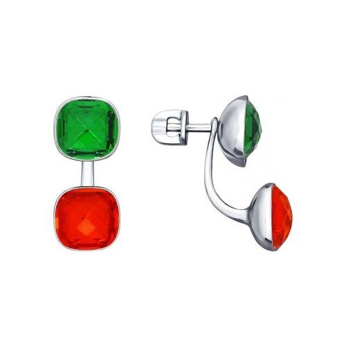 Серьги-пусеты из серебра с зелёными и оранжевыми кристаллами Swarovski