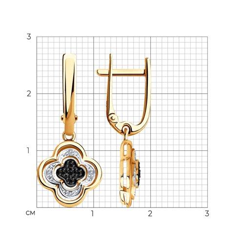 Серьги из золота с бесцветными и чёрными бриллиантами 7020057 SOKOLOV фото 2