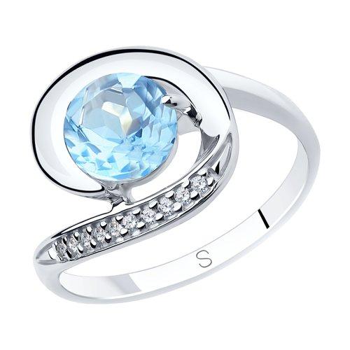 Кольцо из серебра с топазом и фианитами (92011852) - фото