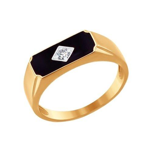Печатка из золота с эмалью с фианитом