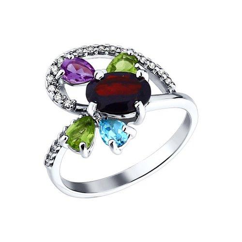 Кольцо из серебра с миксом из камней