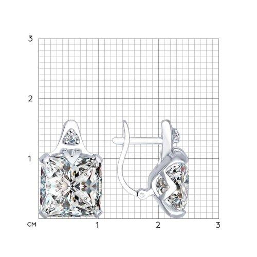 Серьги из серебра с фианитами (94022280) - фото №2