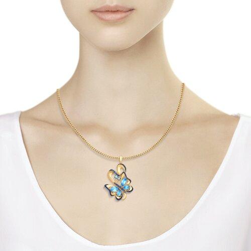 Подвеска «Бабочка» из золота с топазами и синими фианитами (731579) - фото №3