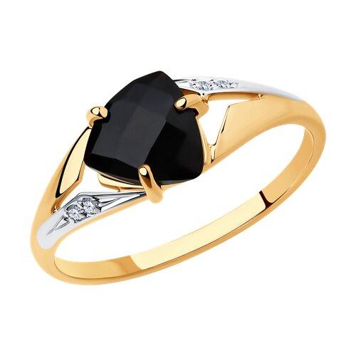 Кольцо из золота с чёрным агатом и фианитами (715215) - фото