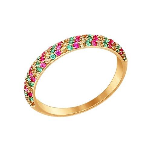 Кольцо из золота с зелеными, красными и жёлтыми фианитами
