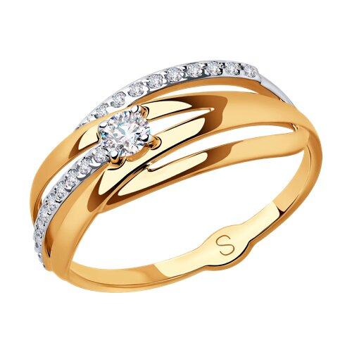 Кольцо из золота с фианитами (018032) - фото