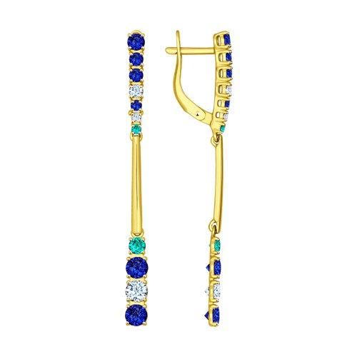 Серьги из желтого золота с бесцветными, зелеными и синими фианитами